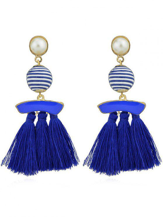 shops Artifical Pearl Tassels Dangle Earrings - BLUE