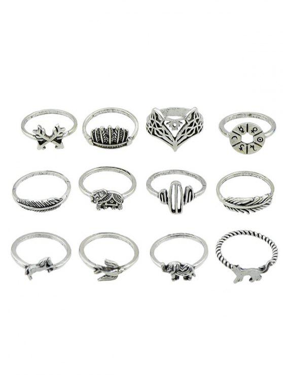 unique Animal Patterned Alloy Rings Set - SILVER ONE-SIZE