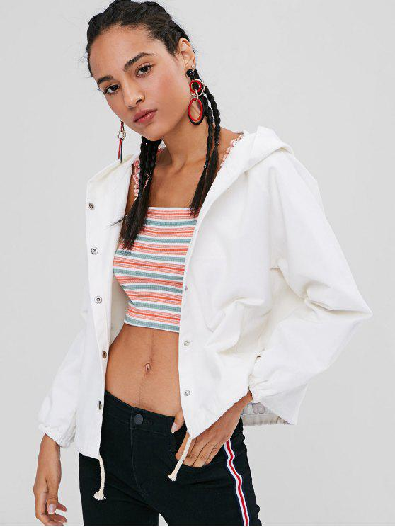 best Cat Back Snap Button Hooded Twill Jacket - WHITE ONE SIZE