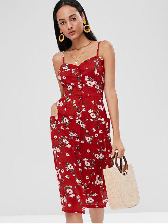Robe Florale Smockée Boutonnée - Rouge M