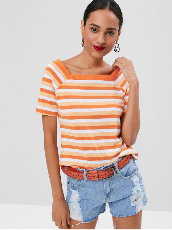 latest Square Collar Striped T-shirt - MANGO ORANGE S