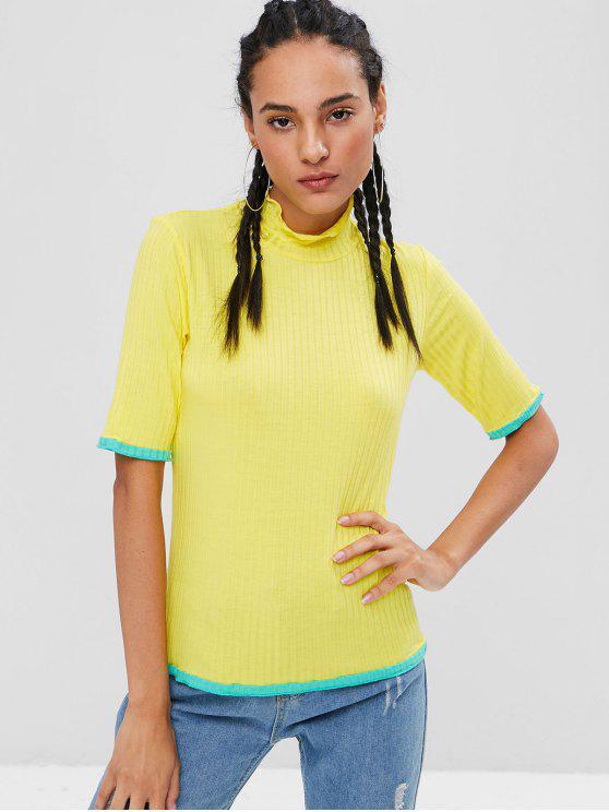 trendy Contrast Trim Mock Neck T-shirt - YELLOW L