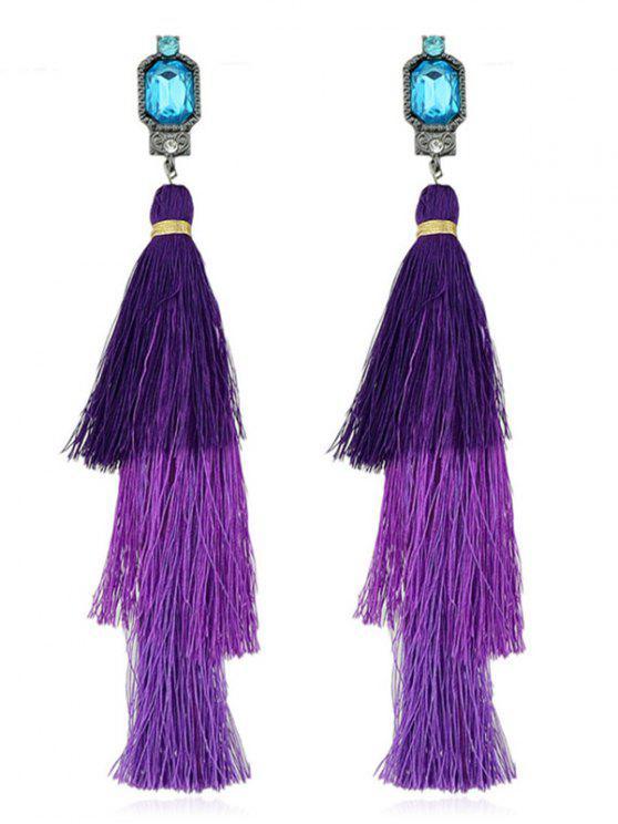 new Rhinestone Layer Tassel Drop Earrings - PURPLE