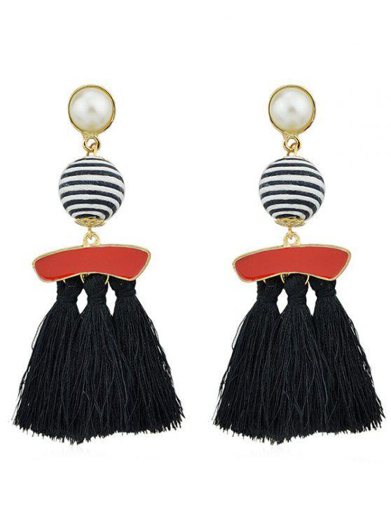 Boucles d'Oreilles Pendantes avec Pompons et Perle Fantaisie - Noir