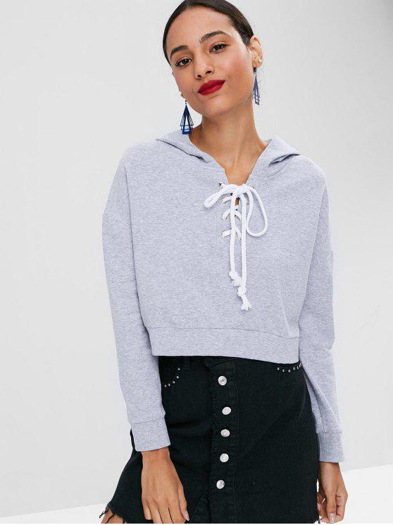 affordable Lace Up Crop Hoodie - GRAY M
