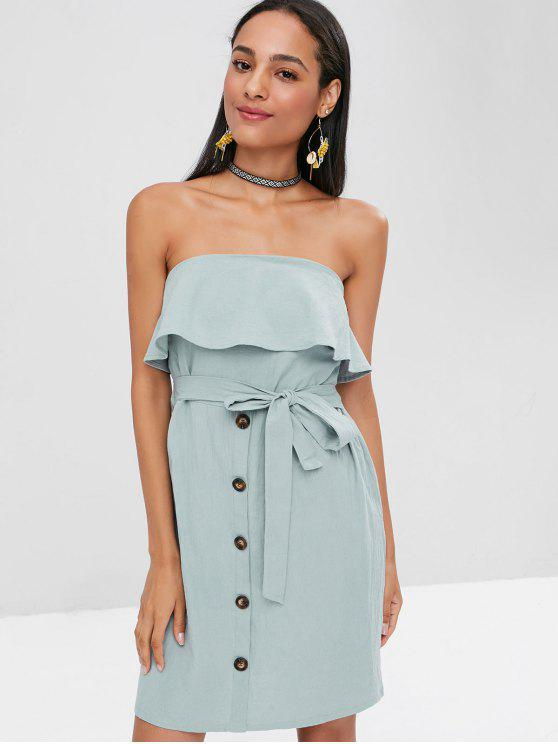 outfit Overlay Buttoned Strapless Dress - CYAN OPAQUE M