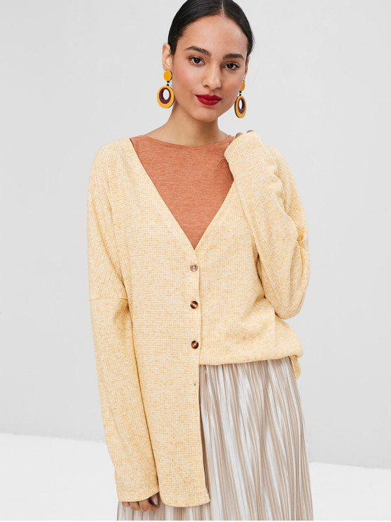lady V Neck Button Up Cardigan - SUN YELLOW L