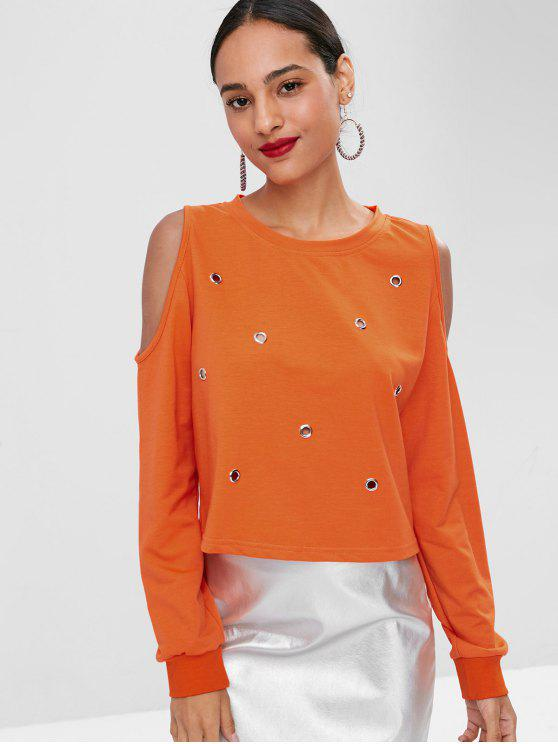 affordable Cold Shoulder Eyelet Tee - ORANGE L