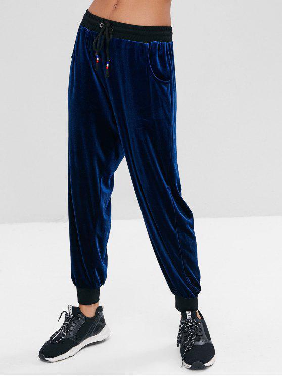 best Drawstring Waist Velvet Pants - CADETBLUE L