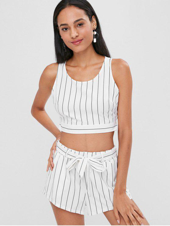 hot Knotted Stripes Top and Shorts Set - WHITE L