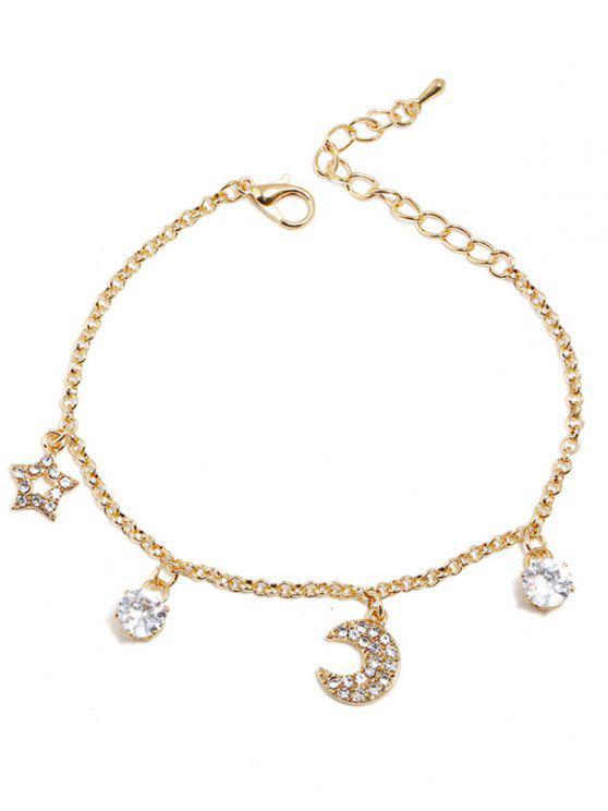 Stern Mond Strass Design Armband - golden