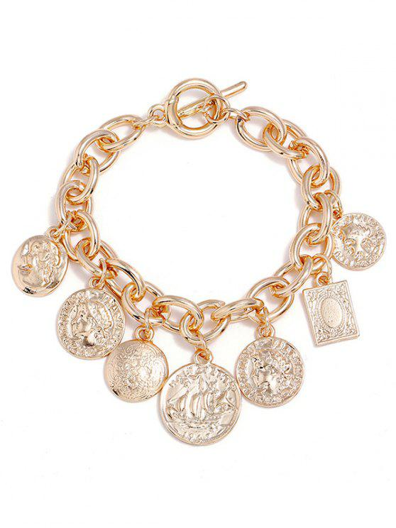 outfit Head Printed Coin Pendant Chain Bracelet - GOLD