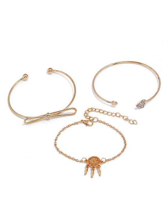 Dreamcatcher Love Heart Design Bracelet Set - Oro