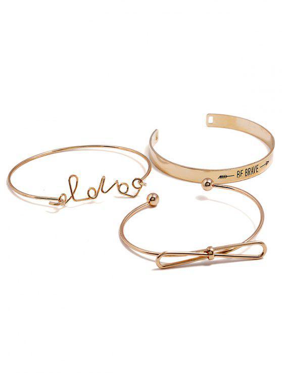 Letters Print Bowknot Design Bracelet Set - Oro