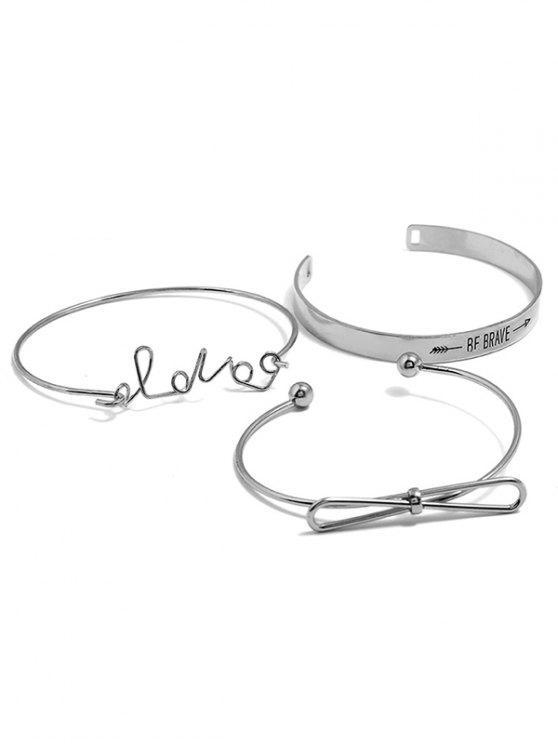 Letters Print Bowknot Design Bracelet Set - Plata