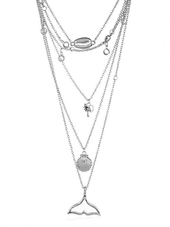 Collier pendentif motif queue de poisson coquille - Argent