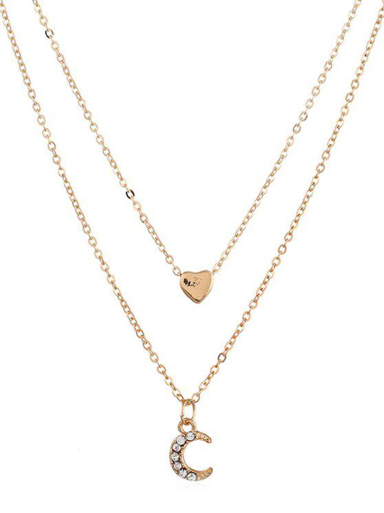 women Crescent Moon Heart Shape Layer Pendant Necklace - GOLD