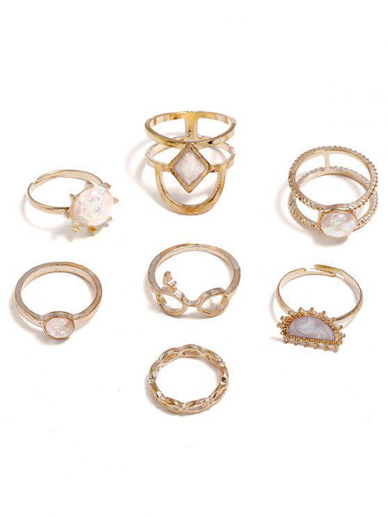 best Rhinestone Geometric Decoration Rings Set - GOLD ONE-SIZE