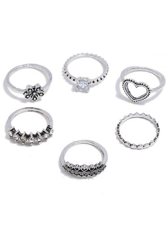 Heart Flower Design Rhinestone Decoration Rings Set - Plata Uno de tamaño