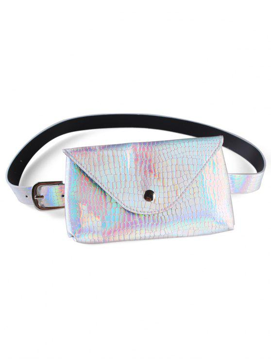 womens Fanny Pack Decorative Faux Leather Skinny Belt Bag - SILVER