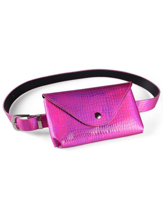 women Fanny Pack Decorative Faux Leather Skinny Belt Bag - ROSE RED