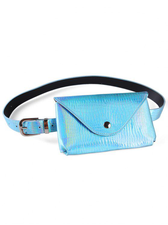 Fanny Pack Saco De Cinto Magro De Couro Falso Decorativo - Céu Azul