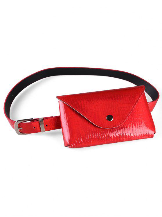 lady Fanny Pack Decorative Faux Leather Skinny Belt Bag - RED