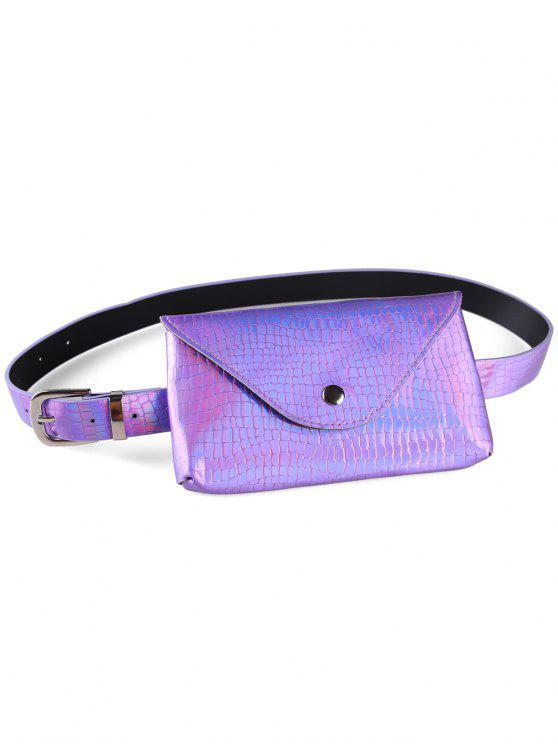 hot Fanny Pack Decorative Faux Leather Skinny Belt Bag - PURPLE