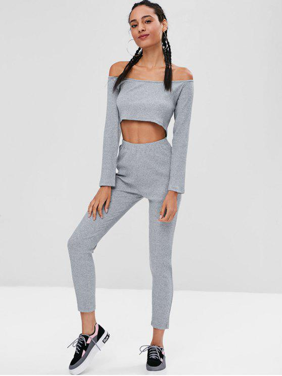 fancy Ribbed Crop Top and Leggings Co Ord Set - GRAY L