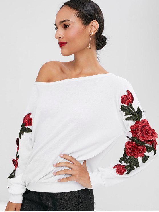shop Floral Applique Skew Collar Sweatshirt - WHITE XL