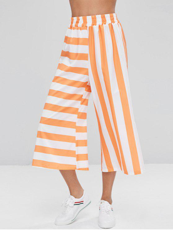 unique Striped Capri Wide Leg Pants - TANGERINE S