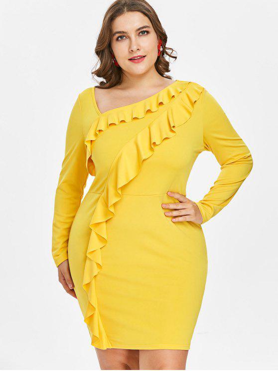 Plus Size Ruffled Mini Vestido Equipado - Amarelo Brilhante L