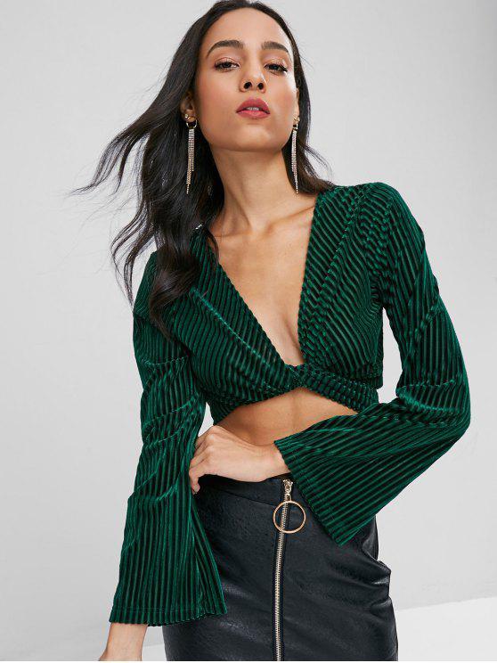 trendy Velvet Knot Long Sleeve Crop Top - DARK FOREST GREEN XL