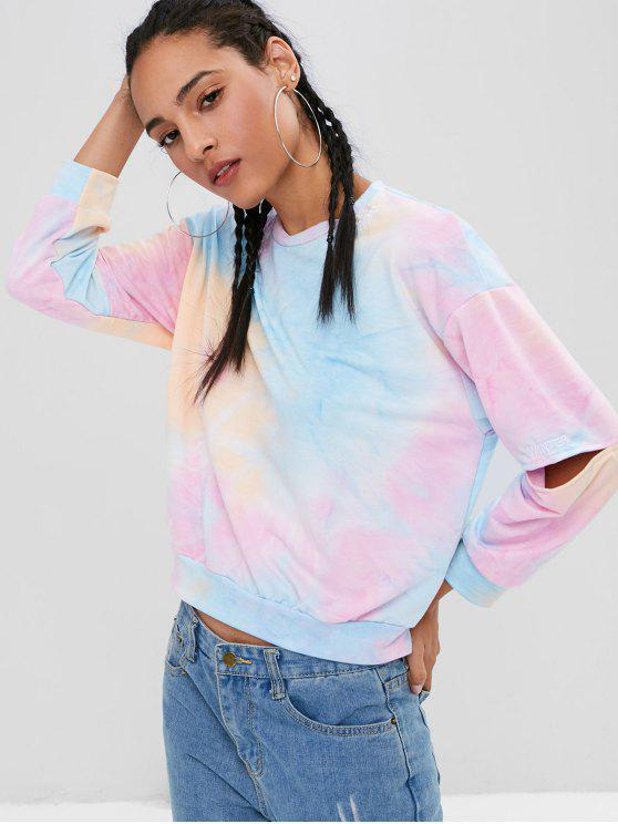 hot Cutout Tie Dye Sweatshirt - MULTI S