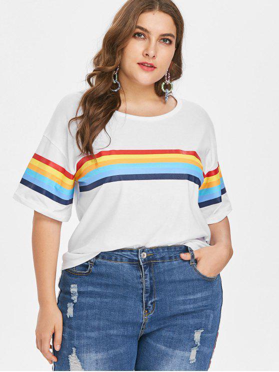 Camiseta a rayas con mangas medias talla grande - Blanco 2X