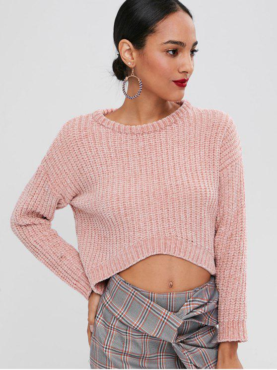 womens Chunky Knit High Low Sweater - PINK ONE SIZE