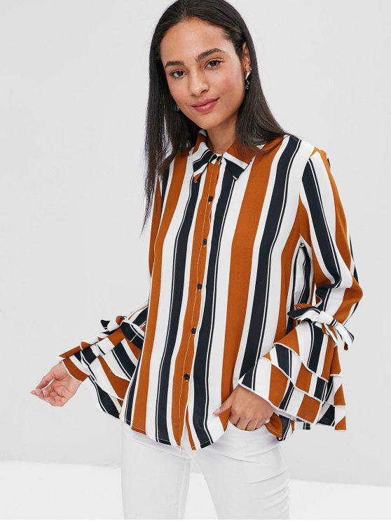 Streifen Knopf Flare Ärmel Shirt - Multi M
