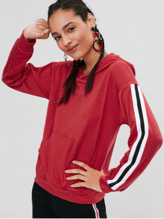 womens Pocket Stripes Patched Hoodie - LAVA RED M
