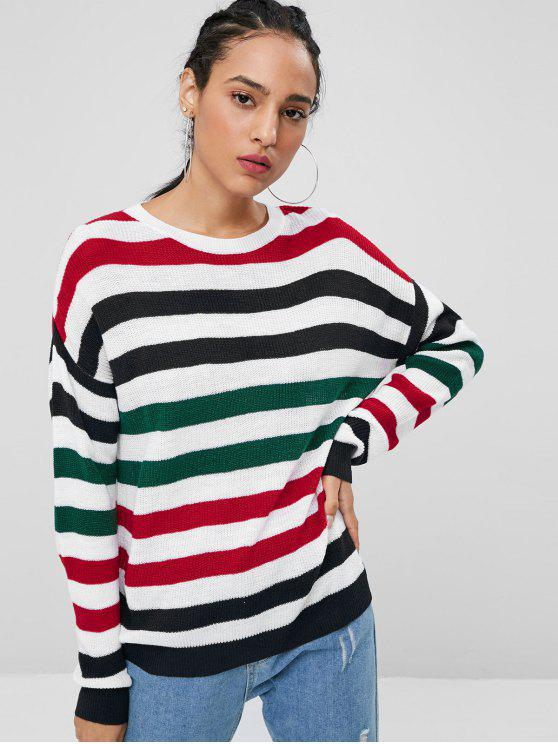 ladies Striped Dropped Shoulder Sweater - MULTI M