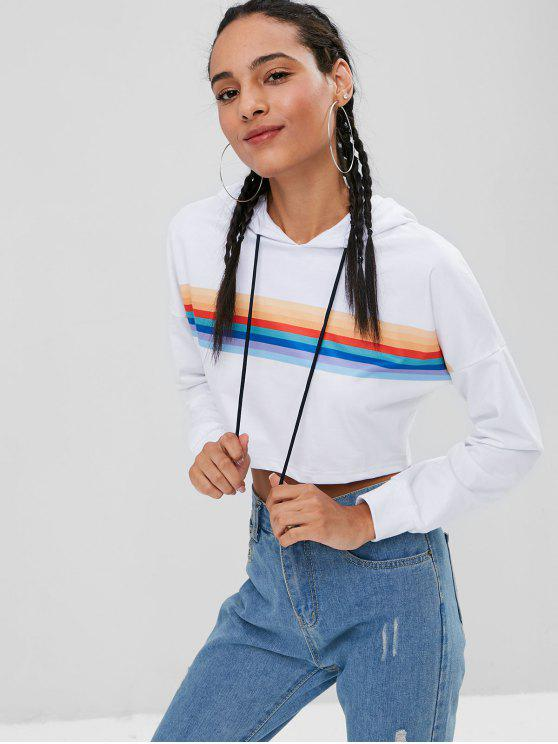 affordable Slouchy Striped Pullover Cropped Hoodie - WHITE M