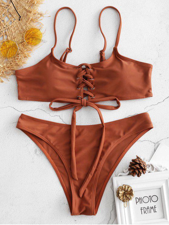 Schnürung Bikini - Braun L