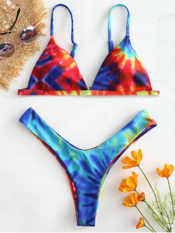 latest Tie Dye Thong Bikini Set - MULTI S