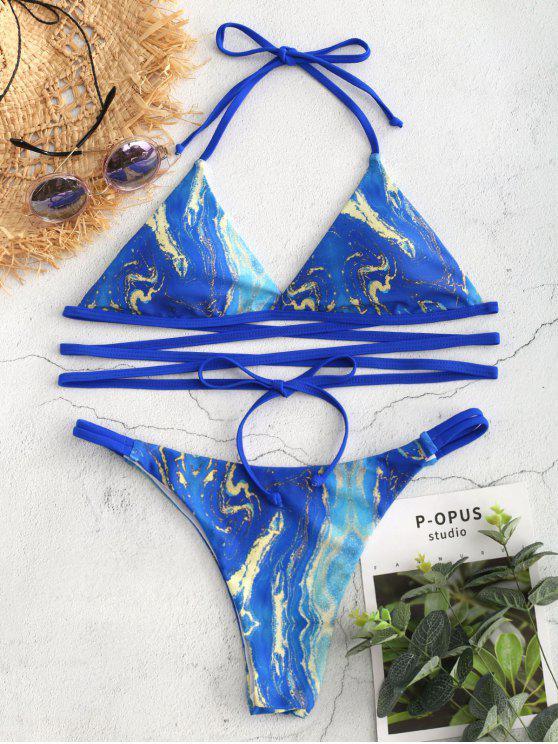 Bikini Portefeuille avec Bretelles et à Imprimé - Bleu Orchidée L