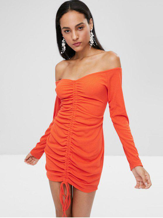 womens Long Sleeve Tie Ruched Bodycon Dress - BRIGHT ORANGE M