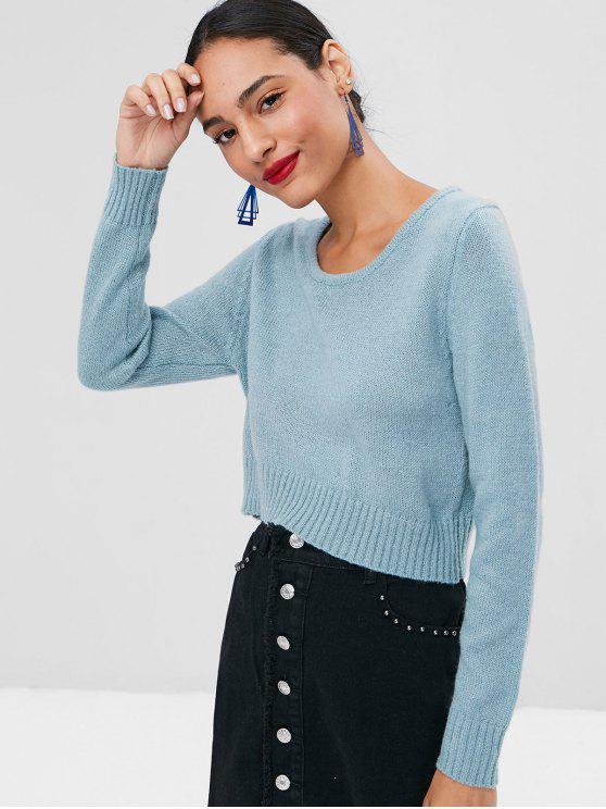 Geschnittenes Schlichtes Sweater - Cyan Opak S