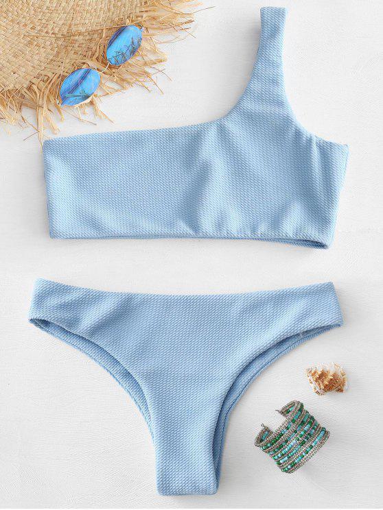 Bikini De Un Hombro Con Textura - Azul Claro M