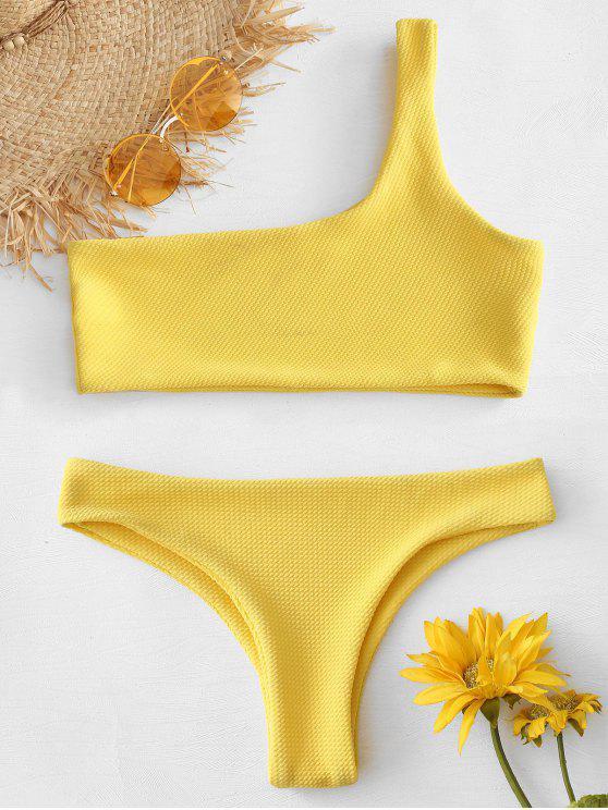 buy Textured One Shoulder Bikini - RUBBER DUCKY YELLOW M
