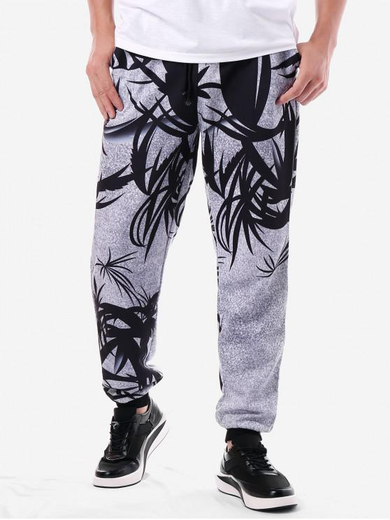 outfit Leaf Print Drawstring Jogger Pants - LIGHT GRAY 2XL
