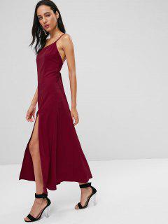 Strappy Slit Cami Dress - Cherry Red L