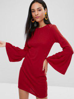 Long Bell Sleeve Mini Bodycon Dress - Red M